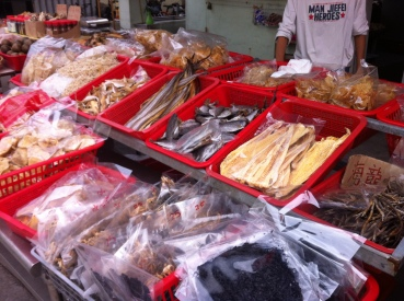 naturally dried fish and seafood is a major business here