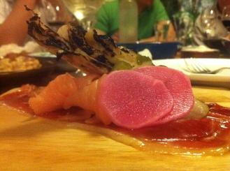 Lamb Basterma, Pickles and Smoked Salmon