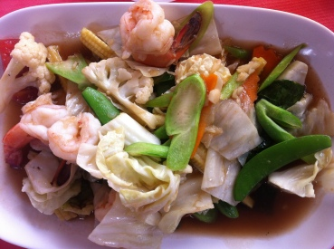 Crunchy vegetable and prawn stirfry