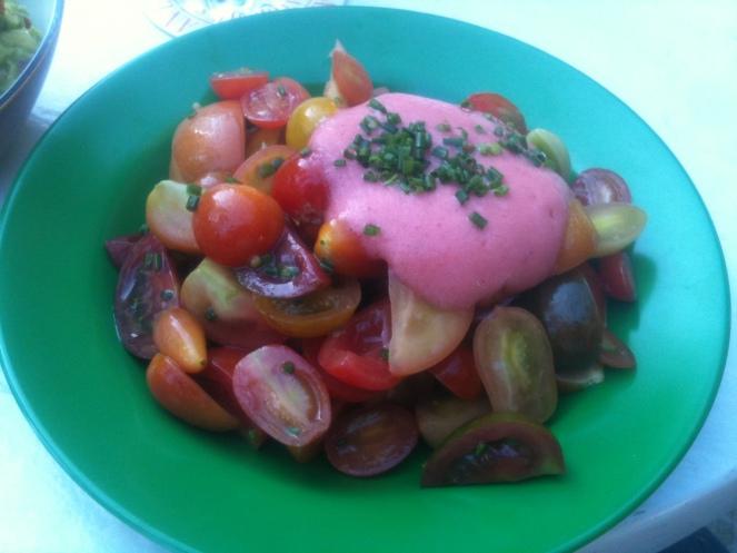 Tomato Salad with Strawberry Foam, Momo, Beirut