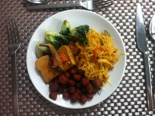 Mock Meat with Red Curry Paste, Tofu and Noodles