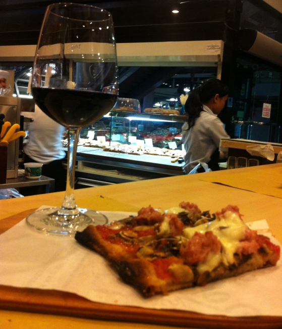 Pizza Boscaiola and a Glass of Montepulciano