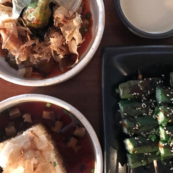 Tofu Agedashi, Eggplant Salad and Okra and Shishito Yakitori