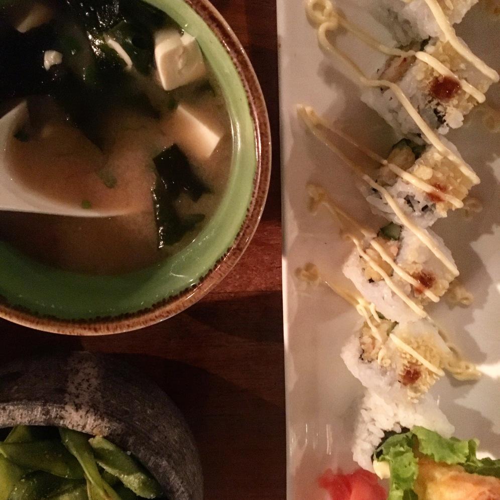 Miso, Edamame & Tempura Prawn Maki Rolls